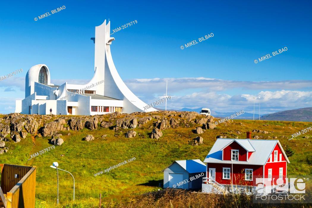 Stock Photo: Stykkis-Holmur church. Snafellsnes peninsula. Iceland, Europe.