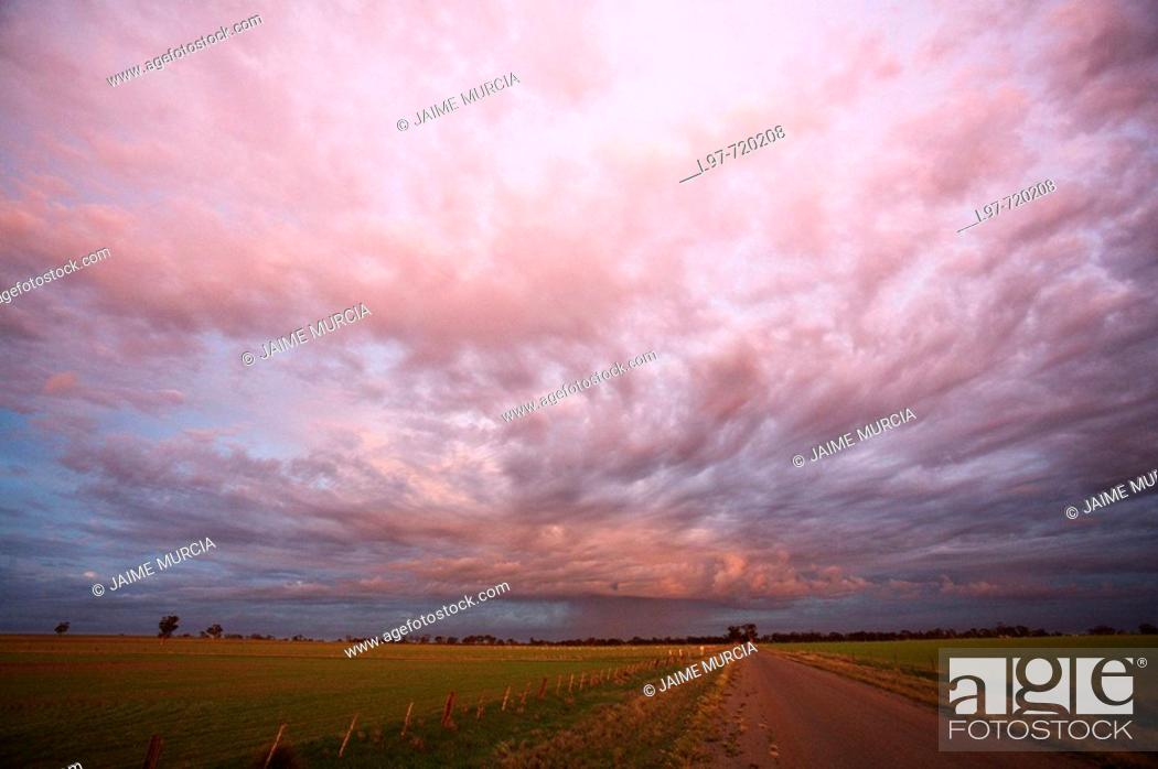 Stock Photo: Rain storm early morning over Corack, Wimmera district Victoria, Australia.