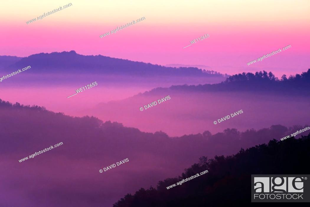 Stock Photo: Sunrise showing the layed mountains off Auxier Ridge  Red River Gorge area of the Daniel Boone National Forest in Kentucky, United States.