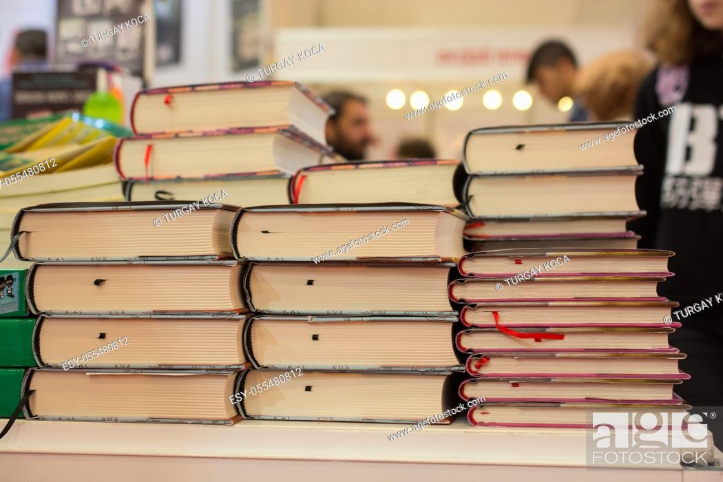 Imagen: Stack of books stored as Education and business concept.
