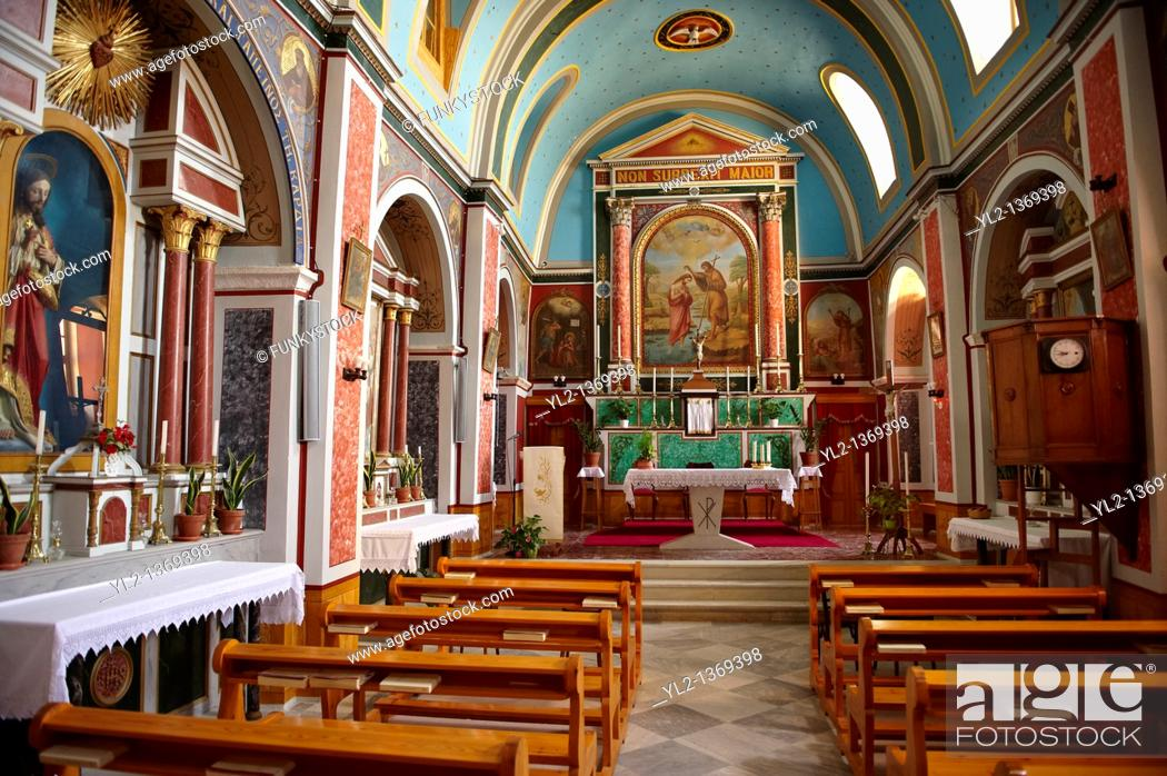 Stock Photo: Interior of the Neo Classic Catholic Parish church of Ano Syros, Syros Island  S  , Greek Cyclades Islands.