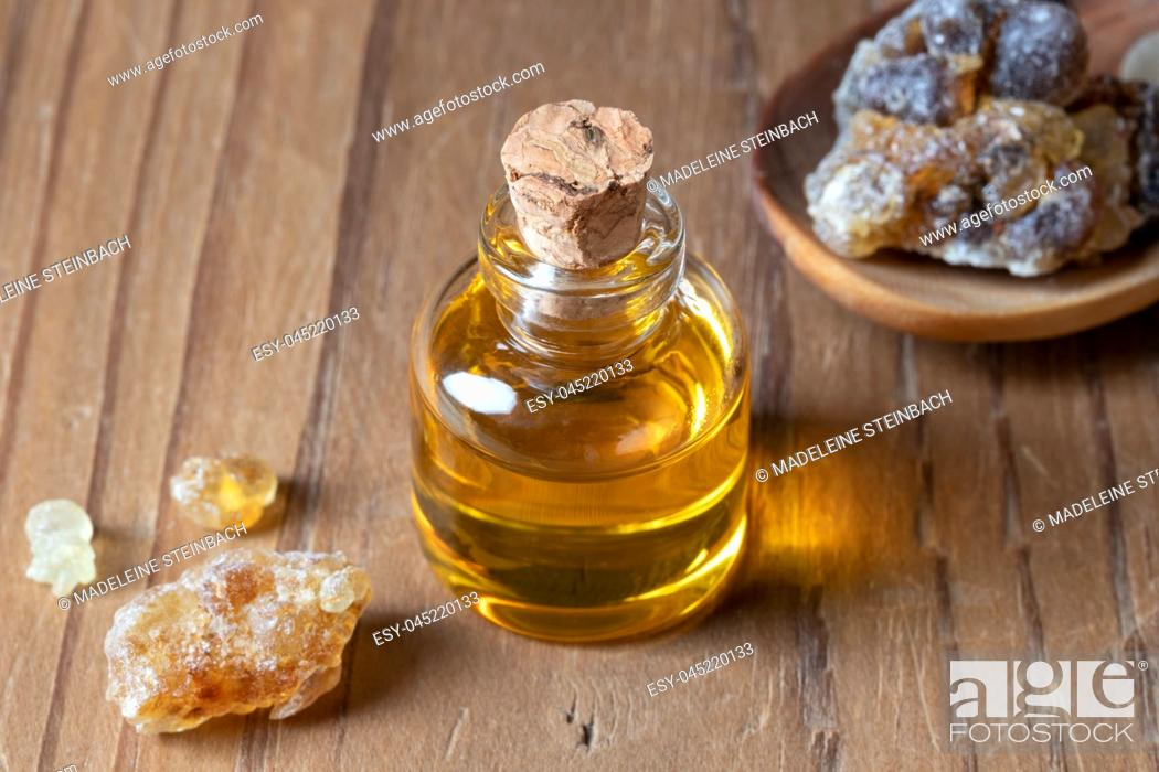 Stock Photo: A bottle of frankincense essential oil.