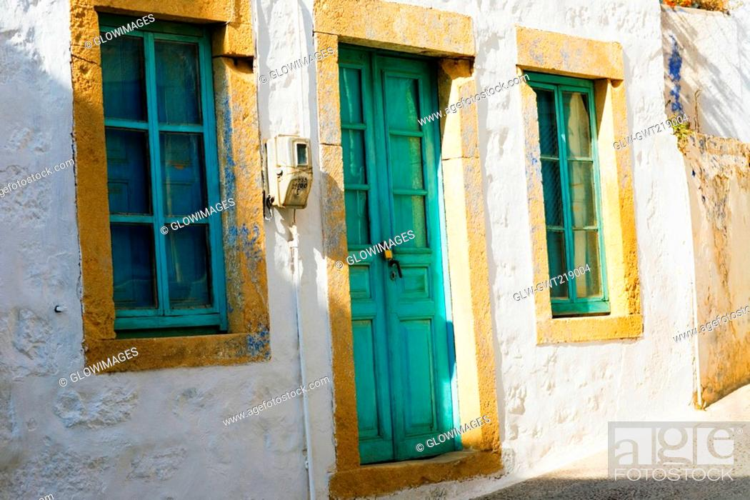 Stock Photo: Closed door of a house, Patmos, Dodecanese Islands, Greece.