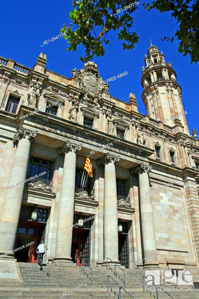 Stock Photo: Postal and Telegraph Building, 1927, architect Josep Goday i Casals, Barcelona, Catalonia, Spain.