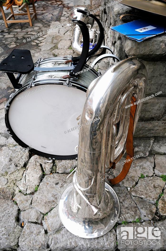 Stock Photo: Musical instruments, tuba, hype, trombone.
