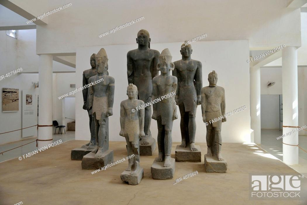 Stock Photo: Seven granite statues, among others of Pharaoh Taharqa, 692-664 BC, found in 2003 by the Swiss archaeologist Charles Bonnet, Kerma Museum, Kerma, Nubia, Sudan.