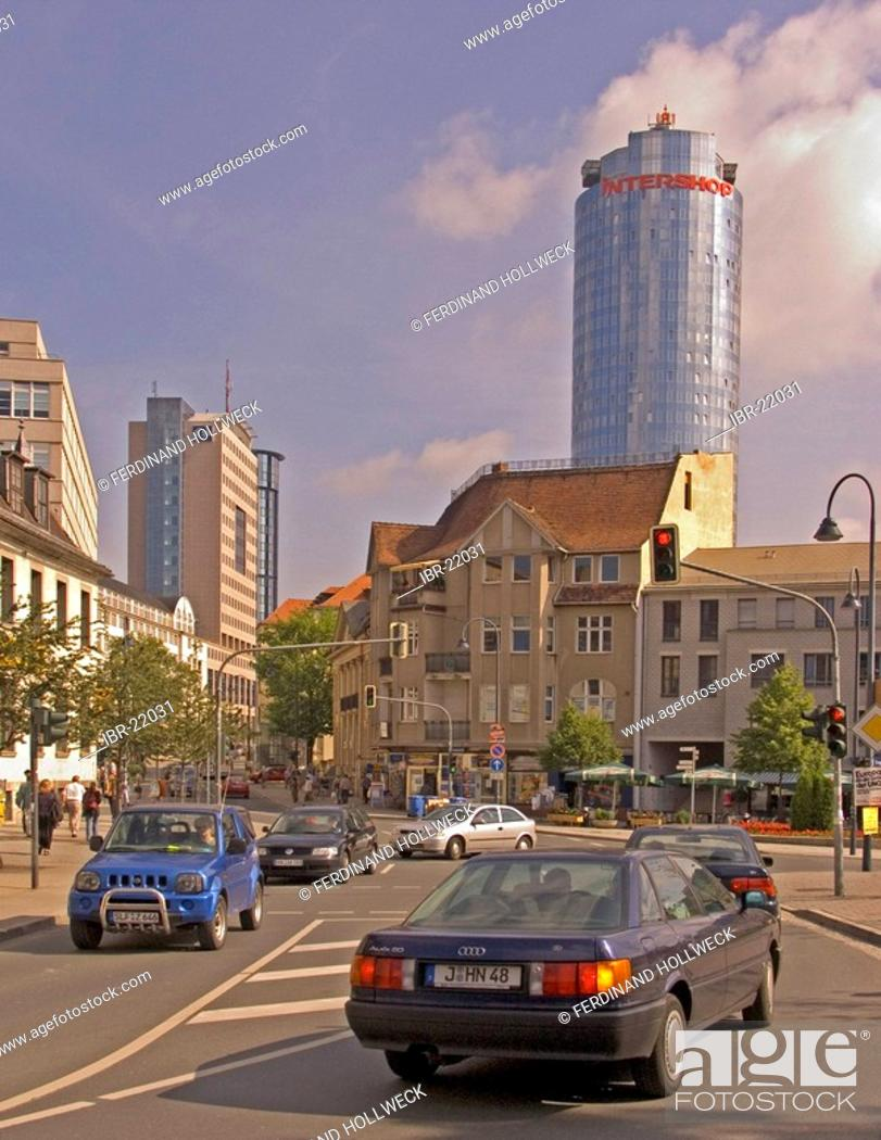 Stock Photo: BRD Germany Thüringen Jena City of University Green City at the River Saale Founded in the 9 Century City Founded 1236 Founder Lords of Lobdeburg Market Place.