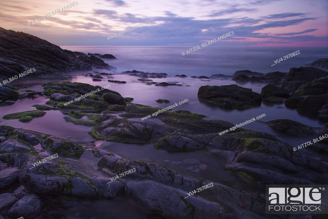 Stock Photo: Long exposure of the small beach of Kobaron, a Little town of the Basque Country coast.