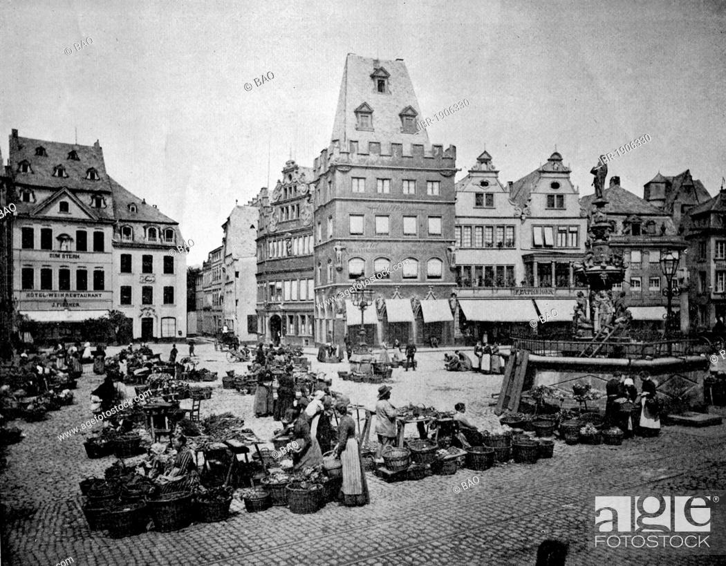Stock Photo: One of the first autotype photographs of the market square in Trier, Rhineland-Palatinate, Germany, circa 1880.