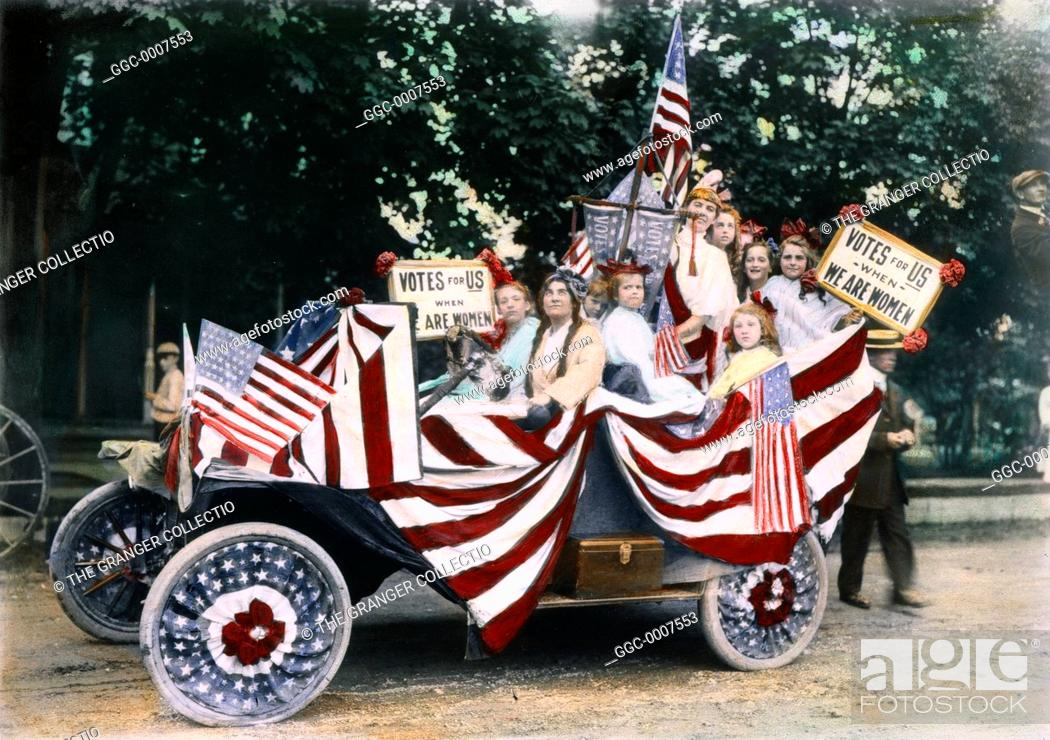 Stock Photo: WOMEN'S SUFFRAGE, 1920.Young girls at an American suffrage meeting, c1920, in an automobile festooned with banners and placards reading.