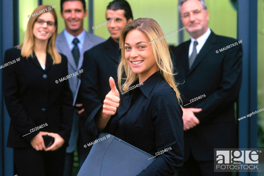 Stock Photo: Successful executives, businesswoman keep one's fingers crossed.