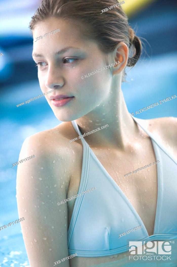 Stock Photo: young woman in swimming pool.