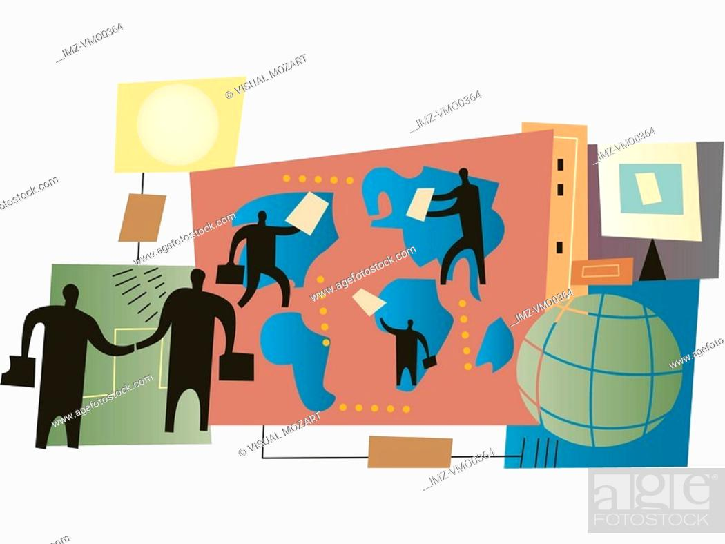 Stock Photo: People doing deals around the globe, montage.
