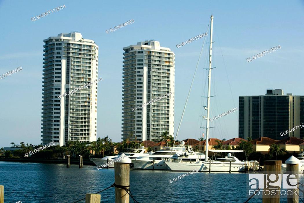Stock Photo: Yachts moored at a dock, Miami, Florida, USA.