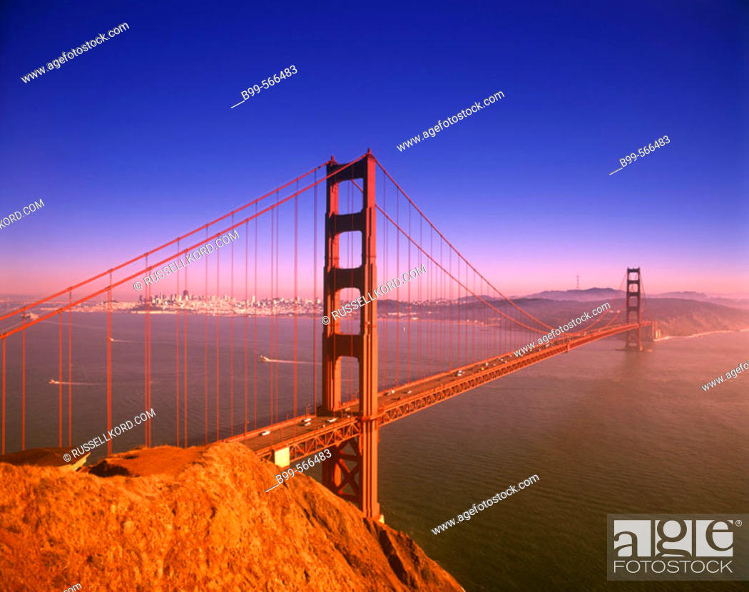 Stock Photo: Golden Gate Bridge, San Francisco Skyline, California, Usa.