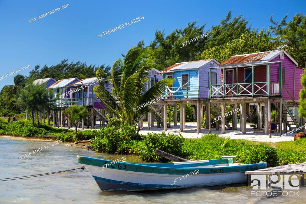 Stock Photo Colorful Beach Cottages On The Island Of Cay Caulker Belize