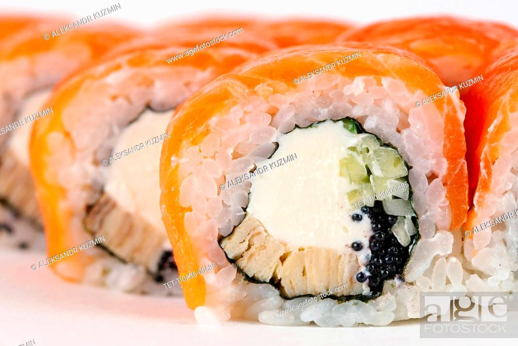 Stock Photo: Sushi with salmon and cream cheese.