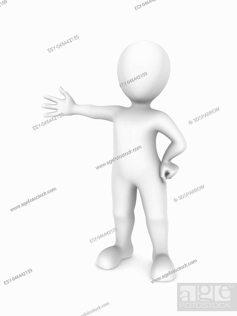Imagen: 3d white man in welcome pose. 3d rendered illustration with small people.