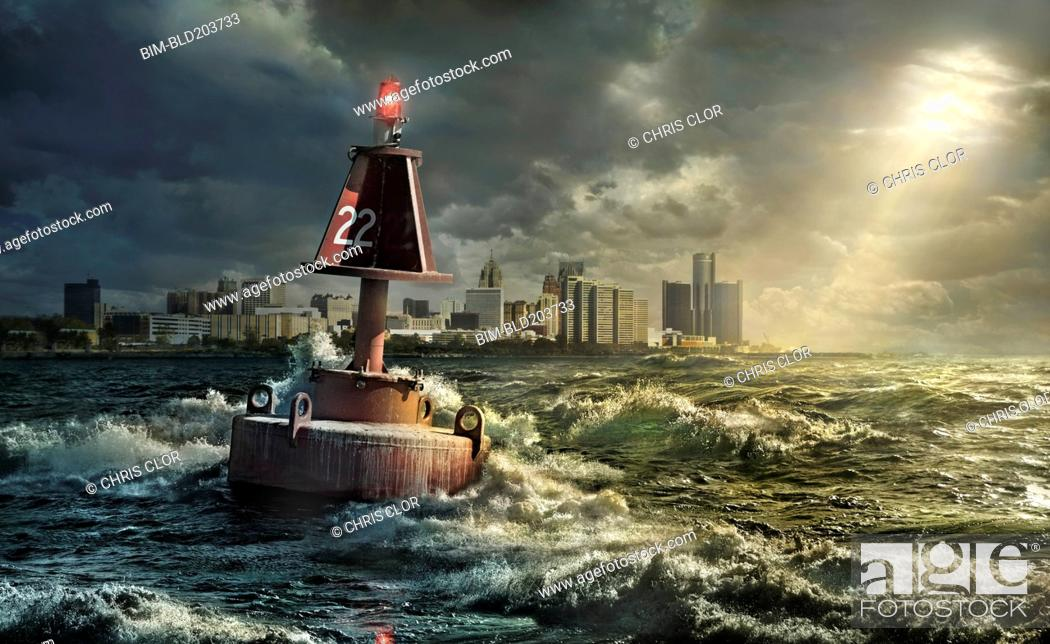 Stock Photo: Buoy in rocky waves, Detroit, Michigan, United States.