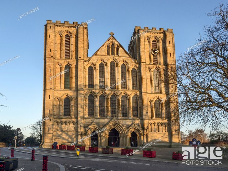 Stock Photo: The West Front of Ripon Cathedral at sunset Ripon North Yorkshire England.