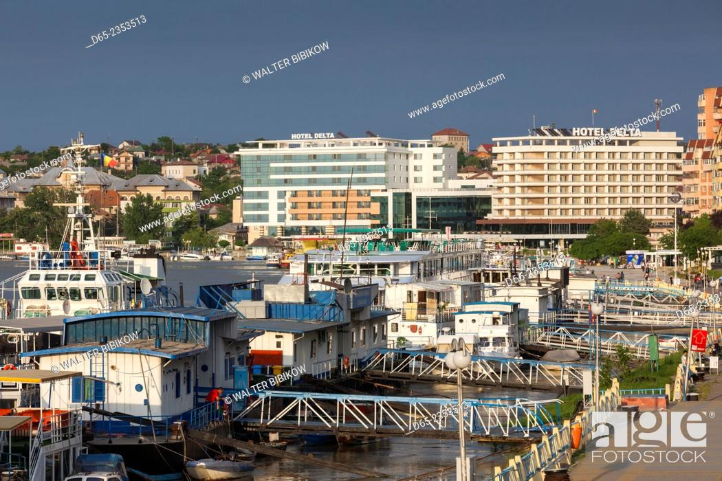 Stock Photo: Romania, Danube River Delta, Tulcea, Danube River waterfront.