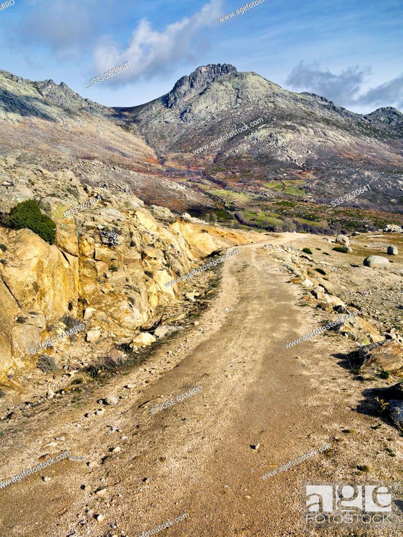 Stock Photo: Road to Zapatero gorge in the Sierra de la Paramera. Navandrinal. Avila. Castilla Leon. Spain. Europe.