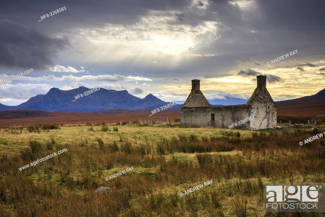 Stock Photo: The ruin at Moine Ho, on the old north coast road, near Tongue in the far north of Scotland. The image was captured on an atmospheric morning in early November.