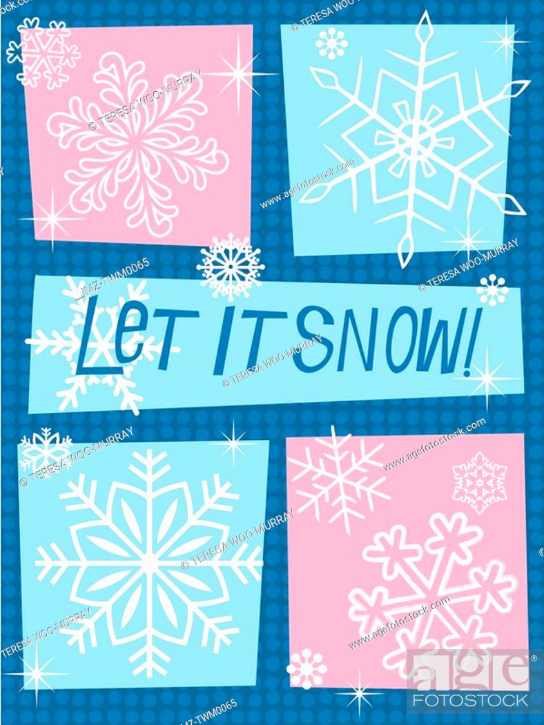 Stock Photo: A blue and pink image made up of different styles of snow flakes with the caption Let it snow.