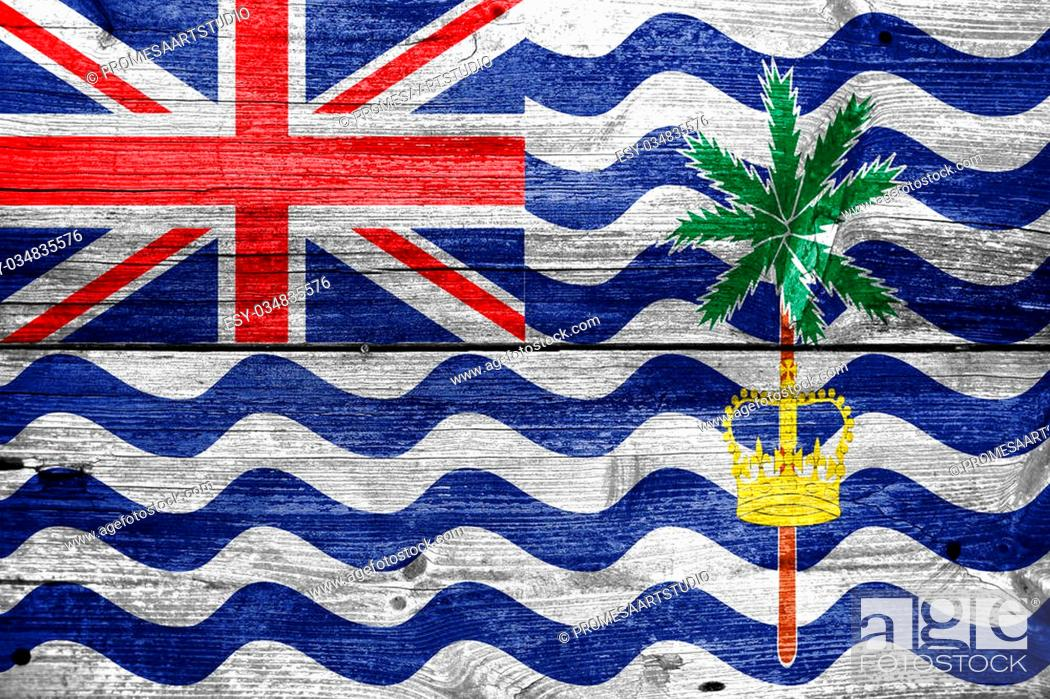 Stock Photo: Flag of British Indian Ocean Territory, painted on old wood plank background.