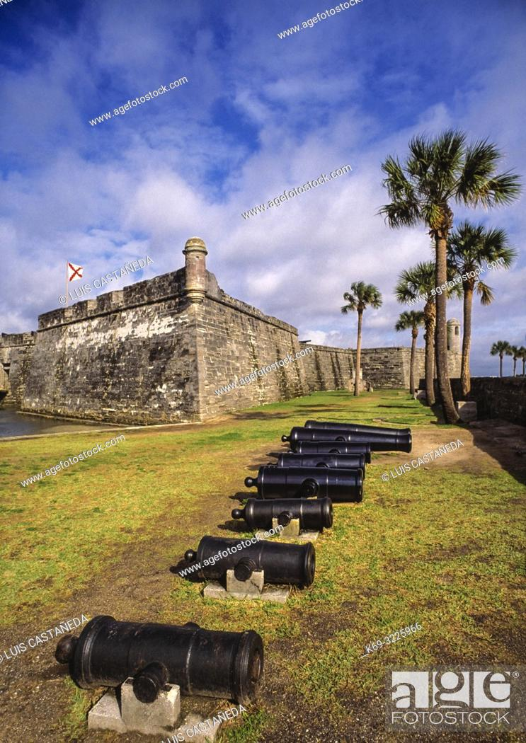Stock Photo: San Marcos Castle. Saint Augustine. Florida. USA. . The Castillo de San Marcos is a 17th-century Spanish stone fortress with views of the St.