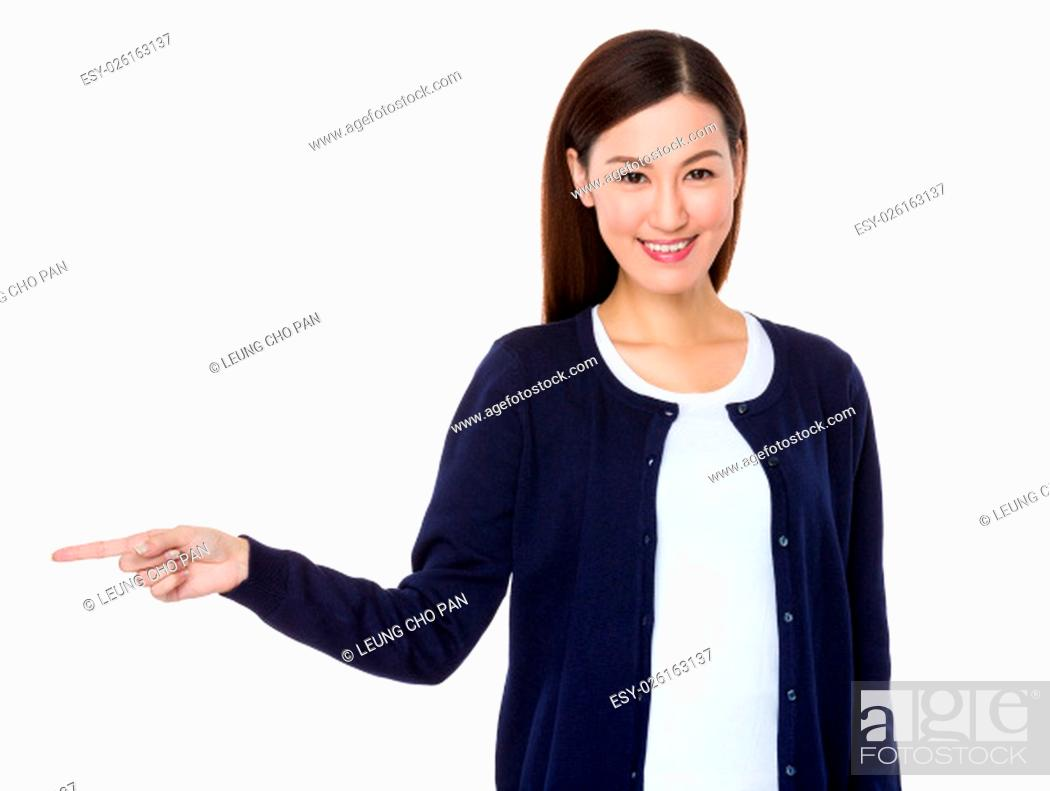 Stock Photo: Asian Young Woman showing finger point aside.