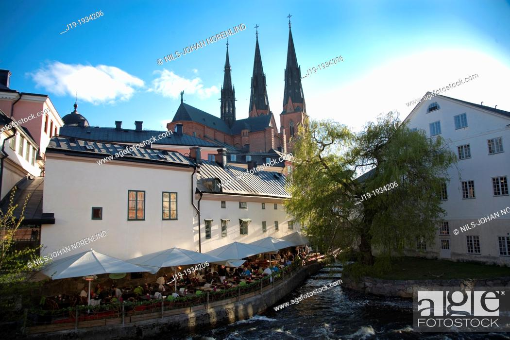 Stock Photo: Uppsala Sweden,Cathedral,Fyresån.