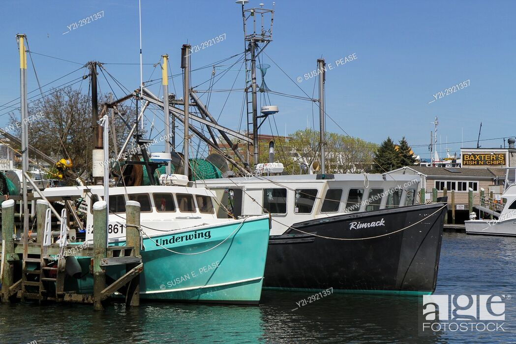 Stock Photo: Boats in Hyannis Harbor, Hyannis, Cape Cod, Massachusetts, United States, North America.