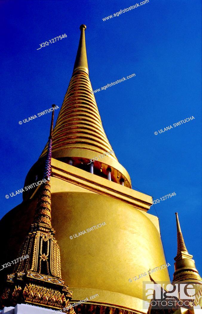 Stock Photo: A golden spire, at the Temple of the Emerald Buddha, Bangkok Thailand.