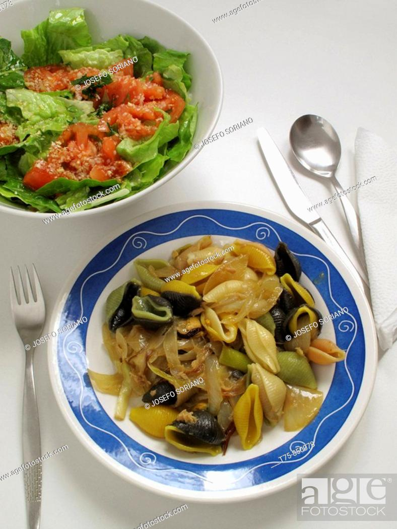 Stock Photo: cuisine, Pasta shells with mussels, onions and salad.