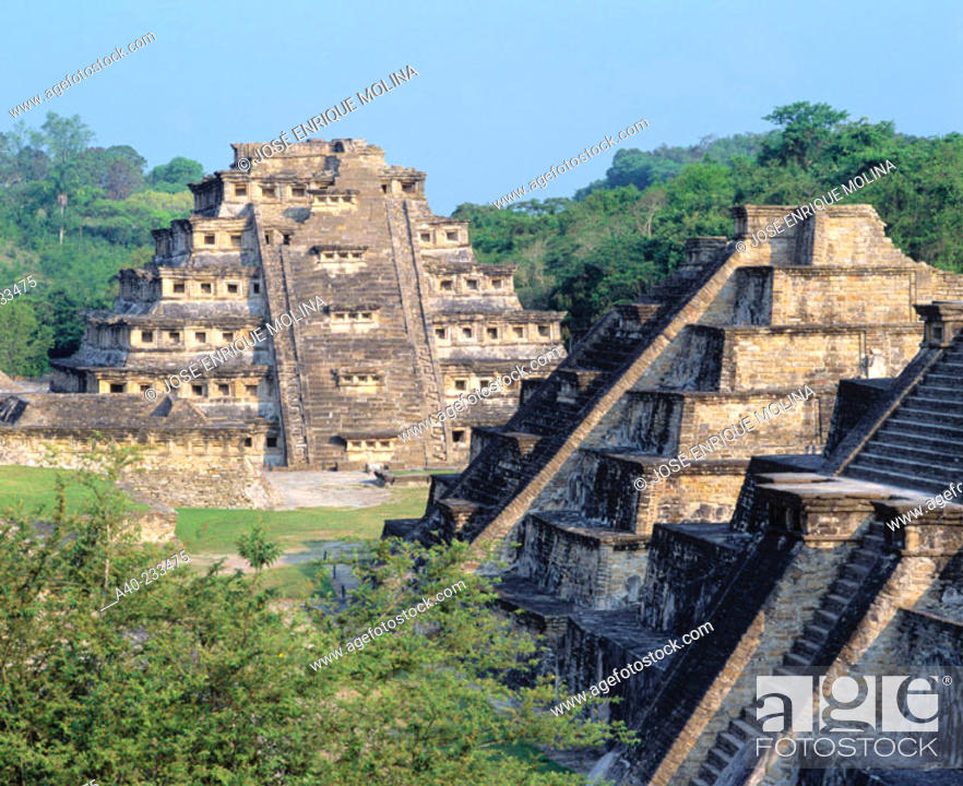 Stock Photo: Pyramids in the old city of Tajin. Veracruz. Mexico.