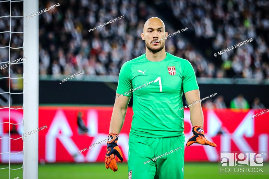 Stock Photo: Wolfsburg, Germany, March 20, 2019: Serbian goalkeeper Marko Dmitrovic during the international friendly match between Germany and Serbia at Volkswagen Arena in.