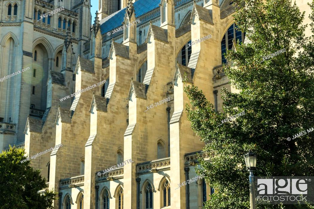 Stock Photo: Sunlight shines on the flying buttresses of the Washington Cathedral in Wash. D. C.