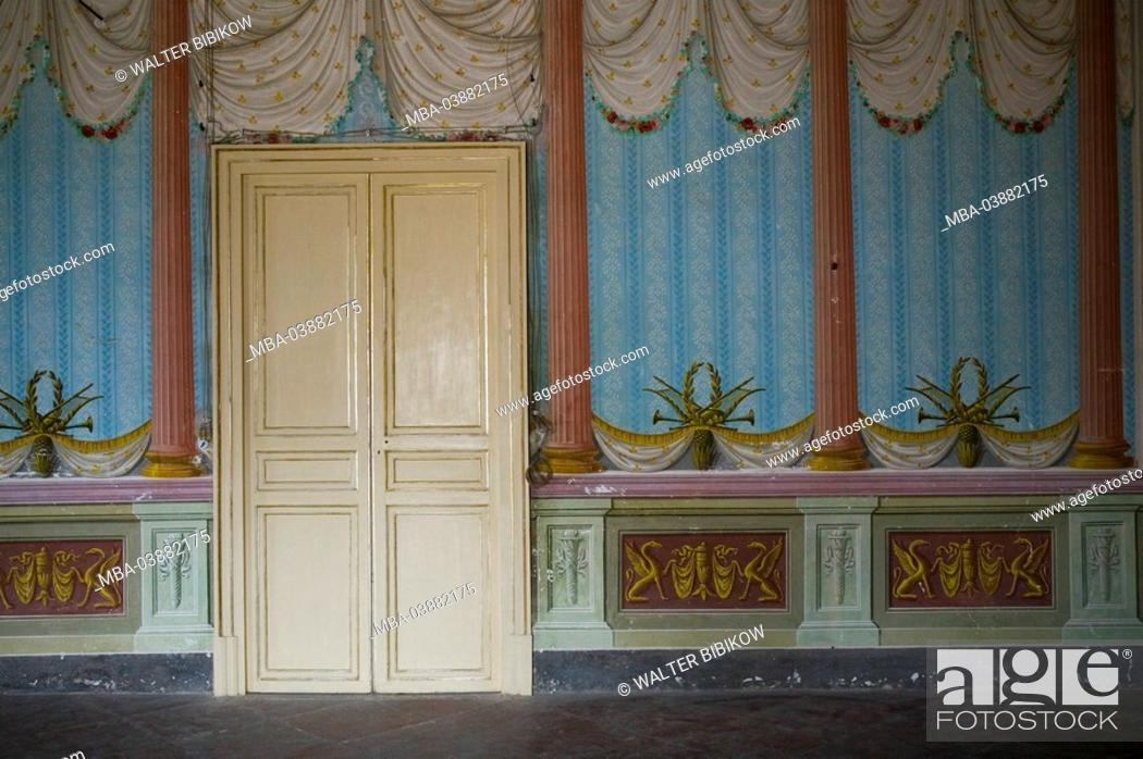 Stock Photo Area Wall Wooden Door Paints Rooms Painting Paintings Columns Wallpaper Curtains Entrance Deserted Italy Island