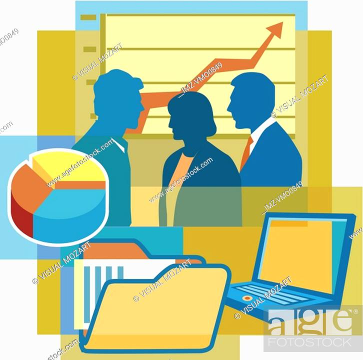 Stock Photo: A montage of two men and a woman, a graph, a pie chart, folders, and a laptop computer.