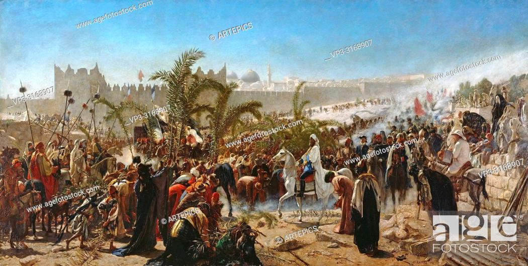 Stock Photo: Gentz Karl Wilhelm - Einzug Des Kronprinzen Friedrich Wilhelm Von Preussen in Jerusalem In 1869 1.