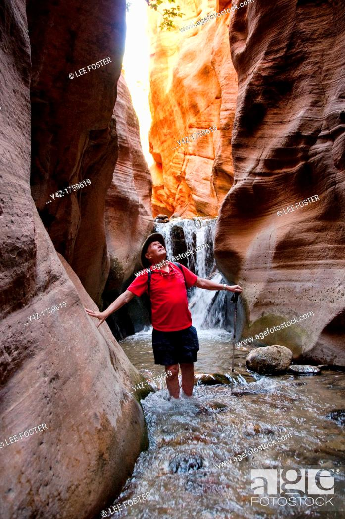 Stock Photo: USA Utah, hike up the slot canyon known as Kanarra Creek, near Zion National Park, showing the red iron oxide rocks and the water stream erosion creating.