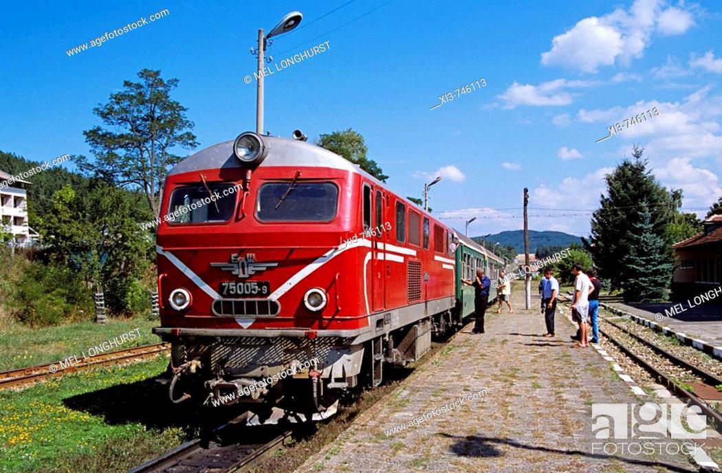 Stock Photo: Dobrinishte Railway Station, Dobrinishte, near Bansko, Bulgaria.