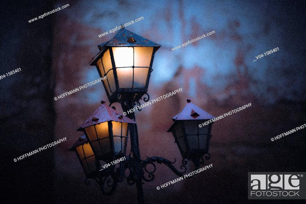 Stock Photo: Mystical view of lit lanterns in Venice, Italy, Europe.