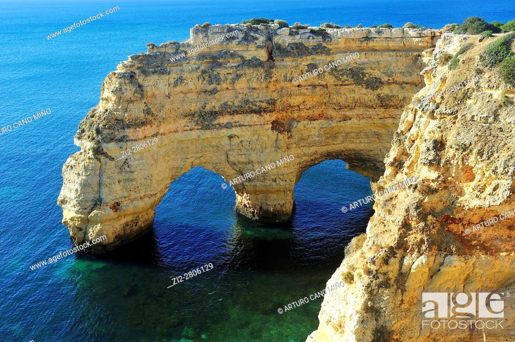 Stock Photo: The Marinha beach. Lagos, Algarve region, Portugal.