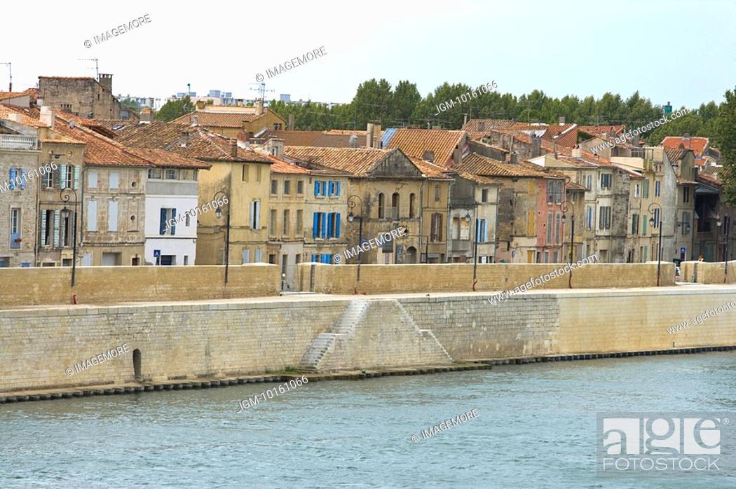 Stock Photo: Rhone River in Avignon, Provence-Alpes-Cote d'Azur, France.