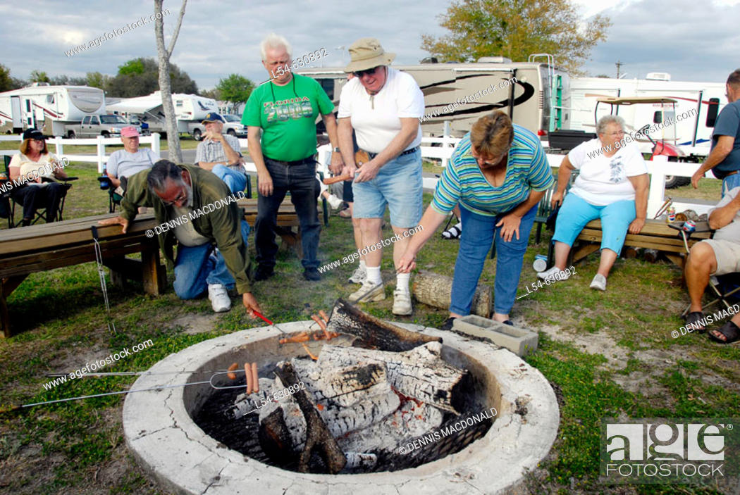 Stock Photo: Senior Citizen campers roast hot dogs over an open camp fire.