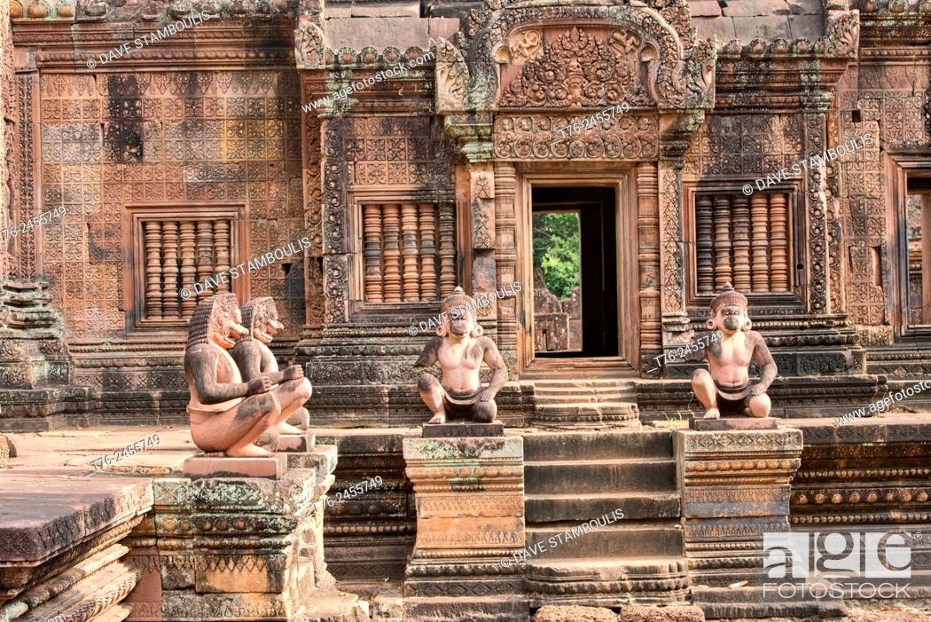 Stock Photo: Monkey statues at the Banteay Srei temple at Angkor Wat in Siem Reap, Cambodia.