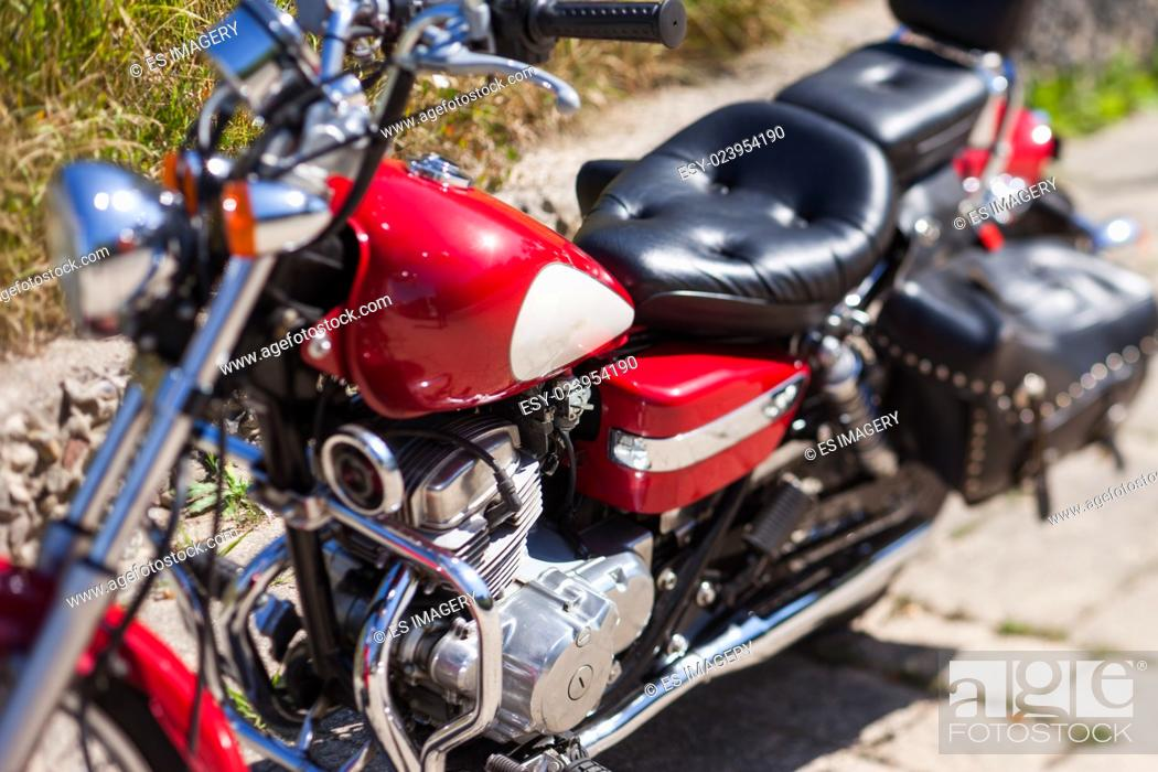 Stock Photo: Classic motorcycle, close up view, depth of field effect.
