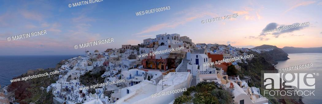 Stock Photo: Greece, View of Oia village at Santorini.